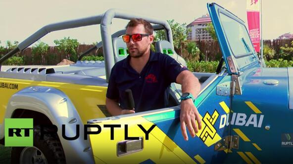 UAE: Amphibious cars tear up water in Dubai's Palm Beach land-sea